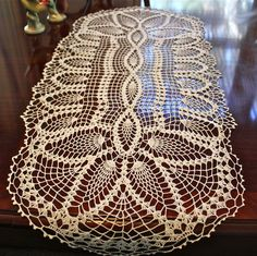 Table Doilies | This vintage oval white cotton crocheted table runner or doily ...