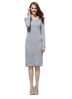 Coreal Women's Long Sleeve 100% Modal Classic Fit Slim Scoop Neck Midi Dress (Gray XL)