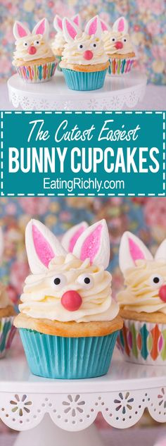You won't believe how cute these marshmallow bunny cupcakes are, and how easy they are to make! From EatingRichly.com via @eatingrichly