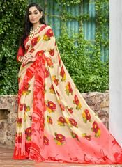 Cream & Pink Color Georgette Kitty Party Sarees : Pranavir Collection YF-61476 Floral Print Sarees, Printed Sarees, Floral Prints, Party Sarees, Kitty Party, Pink Color, Sari, Cream, Collection