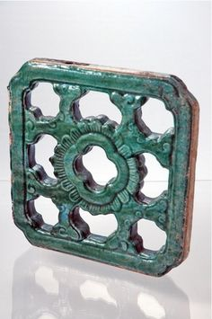 """Chinese Celadon Square Tile 13"""" 19th Century"""