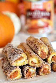 Pecan Pumpkin Pie French Toast Roll Ups. Recipe at TidyMom.net
