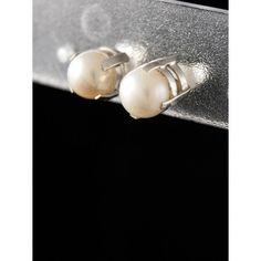 Серьги из серебра 925 пробы. Вставка: натуральный речной жемчуг (цвет: белый) Диаметр: 7 мм