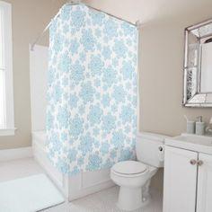 #Winter Blue Snowflake Christmas Yule Xmas Snow Shower Curtain - #Bathroom #Accessories #home #living