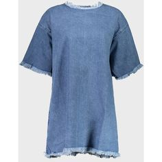 Denim T-Shirt Dress (510 AUD) ❤ liked on Polyvore featuring dresses, loose fit dress, blue t shirt dress, denim dress, tee shirt dress and long-sleeve denim dresses