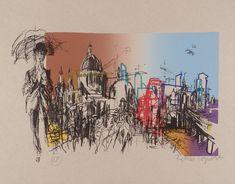 Feliks Topolski 'City', 1973 lithograph © The estate of Feliks Topolski Joan Miro Paintings, City Drawing, Georges Braque, London Skyline, Sense Of Place, Mural Art, Murals, London Art, Henri Matisse