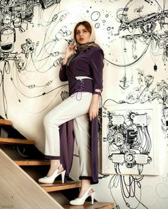 Iranian Women Fashion, New Fashion, Womens Fashion, Cuffed Pants, Summer Outfits Women, Duster Coat, Prom Dresses, Clothes For Women, Sexy