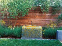 Fiberglass Water Feature, Custom Water Feature Bernard Trianor + Associates Monterey, CA Modern Garden Design, Indoor Outdoor Living, Small Gardens, Water Features, Home Art, Sustainability, Lawn, Home And Garden, Layout