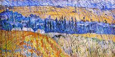 """Vincent van Gogh and Auvers-sur-Oise. """"Landscape at Auvers in the Rain"""", oil on canvas, 50.0 x 100.0 cm, July, 1890. National Museum of Wales, Cardiff, Wales."""