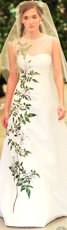 Carolina Herrera Bridal Spring 2016. This would be great for the bride who wants to show her dedication to the environment. Love it. #coupon code nicesup123 gets 25% off at  Provestra.com Skinception.com