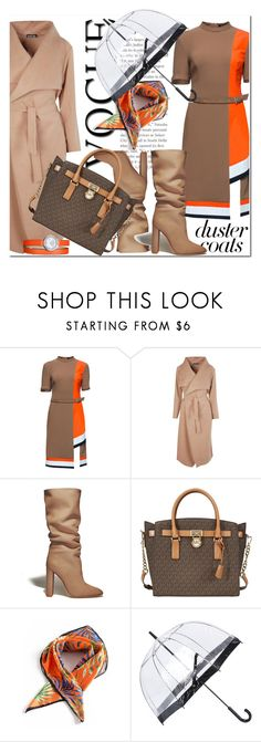 """""""Long Layers: Duster Coats"""" by zemnaya ❤ liked on Polyvore featuring Lattori, Boohoo, Gianvito Rossi, Michael Kors, Fulton and Baume & Mercier"""