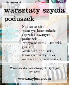 nauka szycia poduszek/poszewek - Poznań Sewing, Words, Kunst, Needlework, Sew, Stitching, Costura, Horses