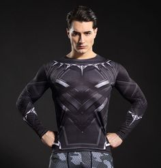 cool Compression Crossfit Gear Black Panther Marvel Tchalla  -  This longsleeve looks like natural superhero gear! Fits perfectly rash guard tee shirt is ideal for sport and daily usage. This shirt contains lycra, which allows  material  stretch to the several sizes and comes back to normal size. Perfectly breath tissue, the color doesn't fade over time.