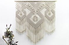 MAJA - Extra LARGE Macrame wall hanging, beautiful geometric wall art. Great as over bed decor or as a living room decor. 100% natural, high quality cotton cord Size: wooden stick: 130 cm (51,1'') length of woven – from top of wood to bottom of fringe: 140 cm (55,1'') 100% handmade We