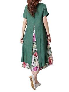 Specification:Style:VintageCollar:O-neckColor:Green GrayPattern:Floral PrintedSeason:Spring SummerDress Length:Knee-LengthSleeve Length:Short SleeveOccasion:Daily Casual HolidayThe elegant ink printing makes the dress full of retro flavor. Trendy Dresses, Simple Dresses, Women's Dresses, Casual Dresses, Fashion Dresses, 1950s Dresses, Dance Dresses, Spring Dresses, Vestidos Vintage