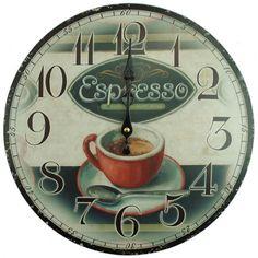 Nástenné hodiny espresso 34cm Espresso, Clock, Wall, Espresso Coffee, Watch, Clocks, Walls, Espresso Drinks