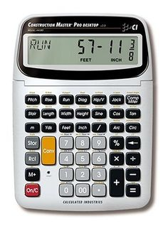 Calculated Industries 44080 Construction Master Pro Construction Calculator by Calculated Industries. $68.27. Amazon.com                  The most complete construction-math calculator on the market, the Construction Master Pro desktop calculator (model 44080) from Calculated Industries is perfect for completing layouts, bids, and estimates as well as helping to save time and money by helping you figure out the right amount of needed materials. It's ideal for or contractors, a...