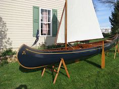 Restored 1922 sailing canoe. Wow, old!!