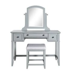 Invigorate a chic and astounding appearance to your home decor with the assistance of this extraordinary CROSLEY FURNITURE Vista Gray Vanity Set. Vanity Table Set, Vanity Set With Mirror, Vanity Makeup Rooms, Makeup Vanities, Bathroom Vanities, Bathroom Ideas, Shower Tile Designs, Stool Covers, Gray Vanity