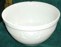 Vintage Hall Large White Pottery Mixing Bowl Ribbed Band Below Rim | eBay $34.99