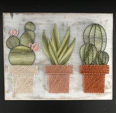 Cactus Garden Rope Art - Srt Rope Success - Home Decor - Rustic Wall Art - Rustic . - Cactus Garden Rope Art – Srt Rope Success – Home Decor – Rustic Wall Art – Rustic Succulent - Rustic Farmhouse Decor, Rustic Decor, Farmhouse Garden, Art Mural Rustique, String Art Diy, Decoration Cactus, Diy And Crafts, Arts And Crafts, Succulent Wall Art