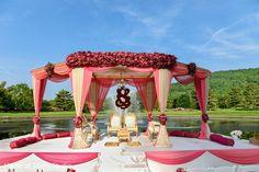 Sikh Wedding Mandap in Mahwah, NJ Sikh Wedding by House of Talent Studio Outdoor Indian Wedding, Indian Wedding Receptions, Indian Wedding Ceremony, Wedding Mandap, Big Fat Indian Wedding, Indian Weddings, Altar Wedding, Hindu Weddings, Peach Weddings