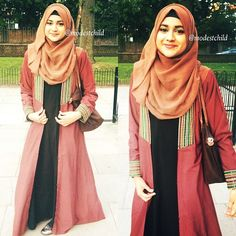 this although the hijab should be longer/bigger to go past the bosom and also to cover past the shoulders. the bag & shoes too :) Hajib Fashion, Abaya Fashion, Modest Fashion, Muslim Dress, Hijab Dress, Hijab Outfit, Muslim Women Fashion, Islamic Fashion, Beautiful Muslim Women