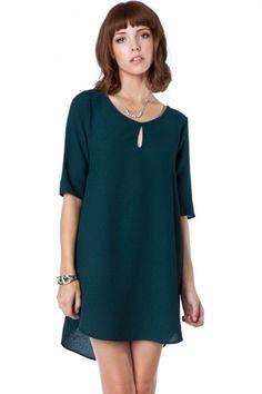 Romee Keyhole Shift Dress in Evergreen - ShopSosie.com