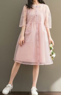 Women Loose Over Plus Size Pink 2 Piece Dress Pocket Yarn Chiffon Tunic Dress - Outfits I love - Wedding Summer Trendy Dresses, Cute Dresses, Beautiful Dresses, Casual Dresses, Casual Outfits, Cute Outfits, Pink Dress Casual, Pink Dresses, Casual Clothes