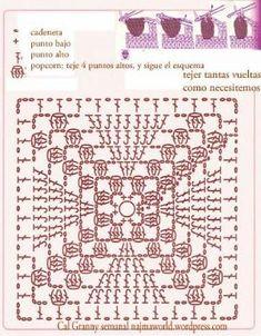 popcorn crochet square - Google zoeken