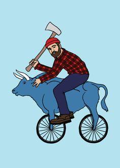 Line Draw | Paul Bunyan on blue ox bike, 5x5 print | Online Store Powered by Storenvy