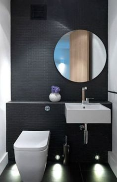 black tiles, Cloud Studios is the London-based interior design firm of Nia Morris and Louise Holt. Beautiful Bathrooms, Modern Bathroom, Small Bathroom, Minimalist Bathroom, Dark Bathrooms, Modern Toilet, Bathroom Toilets, Bathroom Renos, Bathroom Vanities