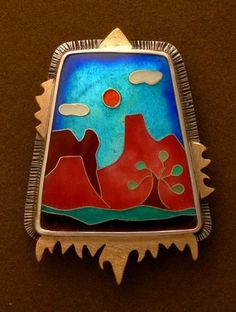 Magic In The Mohave-Cloisonn� pin and pendant