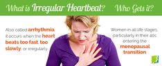 Irregular heartbeat is a common symptom many women experience during menopause.The heart skipping a beat can be a scary experience, but luckily, it's usually just part of menopause and not the sign of an underlying problem. Normal Heart Rate, Rapid Heart Beat, Irregular Heartbeat, Heart Rhythms, Atrial Fibrillation, Heart Palpitations, Psychology Disorders, Heart Function, Autonomic Nervous System