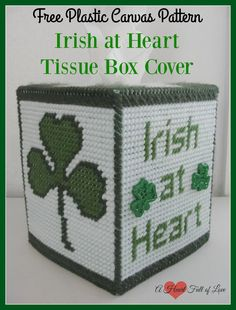 One day a year everyone is Irish at heart! This cute little Free Plastic Canvas Pattern for a St. Patrick's Day themed tissue box cover works up quickly.