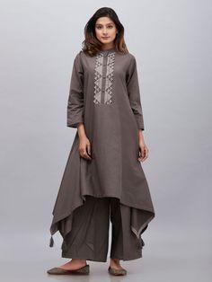 Brown Cotton Mulmul Asymmetric French Kurta with Palazzo - Set of 2 Simple Kurti Designs, Stylish Dress Designs, Kurta Designs Women, Designs For Dresses, Stylish Dresses, Blouse Designs, Mode Abaya, Mode Hijab, Hijab Fashion