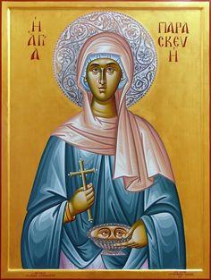 Paraskevi the Venerable Martyr Byzantine Icons, Byzantine Art, Religious Icons, Religious Art, Luke The Evangelist, Sainte Lucie, Orthodox Christianity, Madonna And Child, Patron Saints