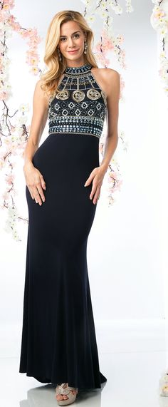 Prom Dresses Evening Dresses by CINDERELLA<BR>add971<BR>Halter top beads and sequin bodice with A-line silhouette and cutout back.