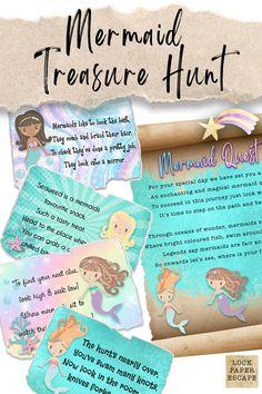 Fun Rainy Day Activities, Birthday Activities, Birthday Games, 4th Birthday, Treasure Hunt For Kids, Treasure Hunt Games, Mermaid Party Games, Mermaid Parties, Game Ideas