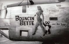 """B-24 Liberator """"Bouncin' Bette and her Teddy"""" nose art – http://thepinuppodcast.com  re-pinned this because we are trying to make the pinup community a little bit better."""