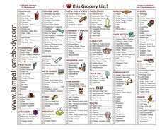 Grocery List ' Free Printable Template   Tampa Homebody