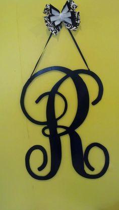 Single letter initial metal wall/door hanger by BackyardMetalArts, $32.00