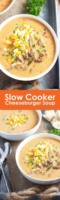Slow Cooker Cheeseburger Soup- a delicious soup that tastes like a cheeseburger made right in your slow cooker! | Countryside Cravings