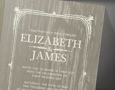 Ivory Rustic Barn Wood Wedding Invitations  by InvitationSnob
