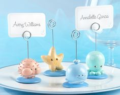 beach themed place card holders are ideal for a baby shower or kids' birthday party, as low as $5.94