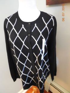 Ladies Croft Barrow Black Blue White Geo Print Cardigan Sweater Sz Medium | eBay