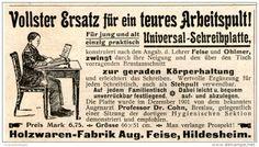 Original-Werbung/Inserat/ Anzeige 1902 - ARBEITSPULT / FEISE HILDESHEIM ca. 90 x 50 mm