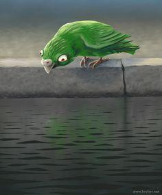 Разные птичи грустят по-разному. Некоторые, идут к водоемам, и тупят в воду.