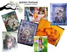Artistic Portland. Assorted artists. Local artists. Incredible artistry. Doodle art. Crayon and cardboard art. Drawing. Sketches. Painting.