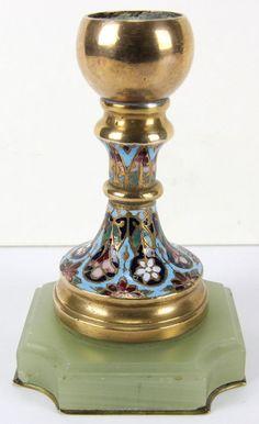 Kerzenleuchter Leuchter Messing mit Cloisonné auf Jade-Sockel 19. Jh. Russia
